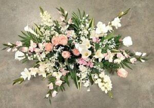 Composition florale Funéraire originale blanche et rose, exclusivité Flora Déco