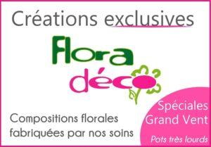 Composition de fleurs, Spéciales grand Vent, fabriquées par Flora Déco