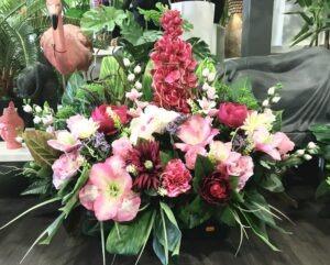 Coupe de Fleurs Artificielles lestée pour le cimetiere, une de nos dernière creation pour la Toussaint, model unique