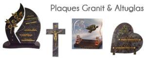 Plaques funéraires Flora Déco en Granit et Altuglas